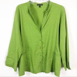 Eileen Fisher Linen Green Button Down